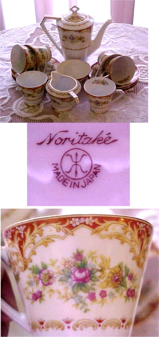 noritake m dishes red orange gold silver hand painted luster
